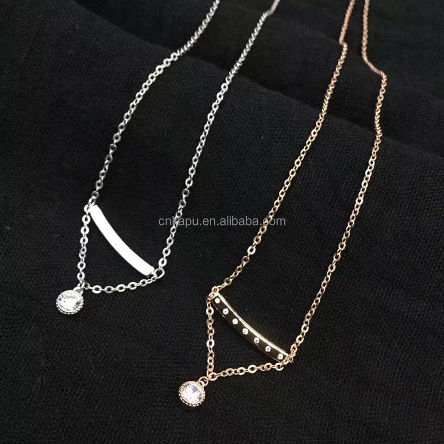 925 Sterling Silver Wedding Anniversary Gifts Side Rose gold Plated Chain Necklace