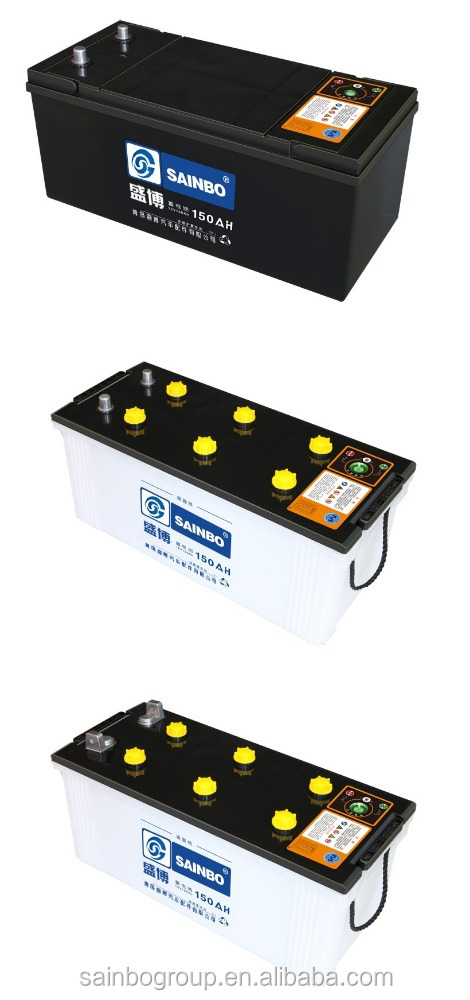 Dry used car battery with manufacturer price 12V150AH