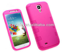 Fashion 3 in 1 PC silicone hybrid hard case cover for samsung galaxy s4 iv i9500,3d silicone case for samsung galaxy s4 i9500