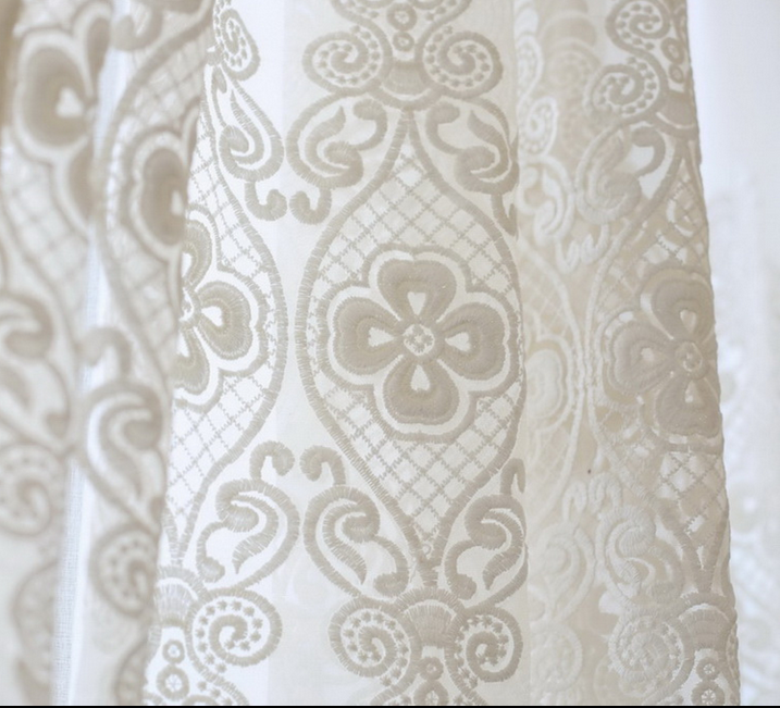 turkish lace jacquard window curtain fabric for the office