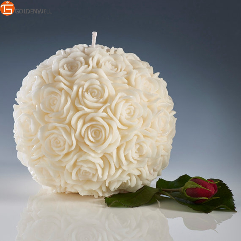 Rose Ball Candles, Ivory