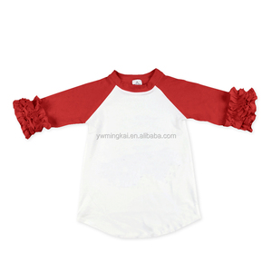 children red ruffled half sleeves white raglan t shirts tops baby girls blouses for summer wear