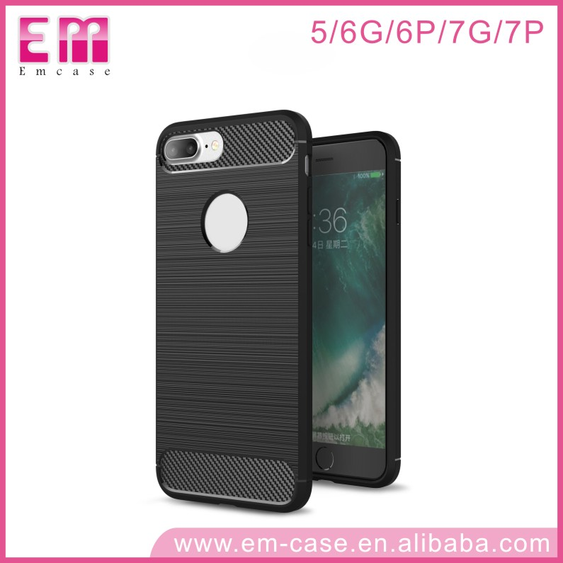 Splice Pattern Carbon Fiber High Quality Soft TPU Cell Phone Case For iPhone5 6 6p 7 7p