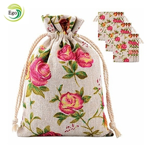 Promotion natural flower printed burlap bags with drawstrings for gift