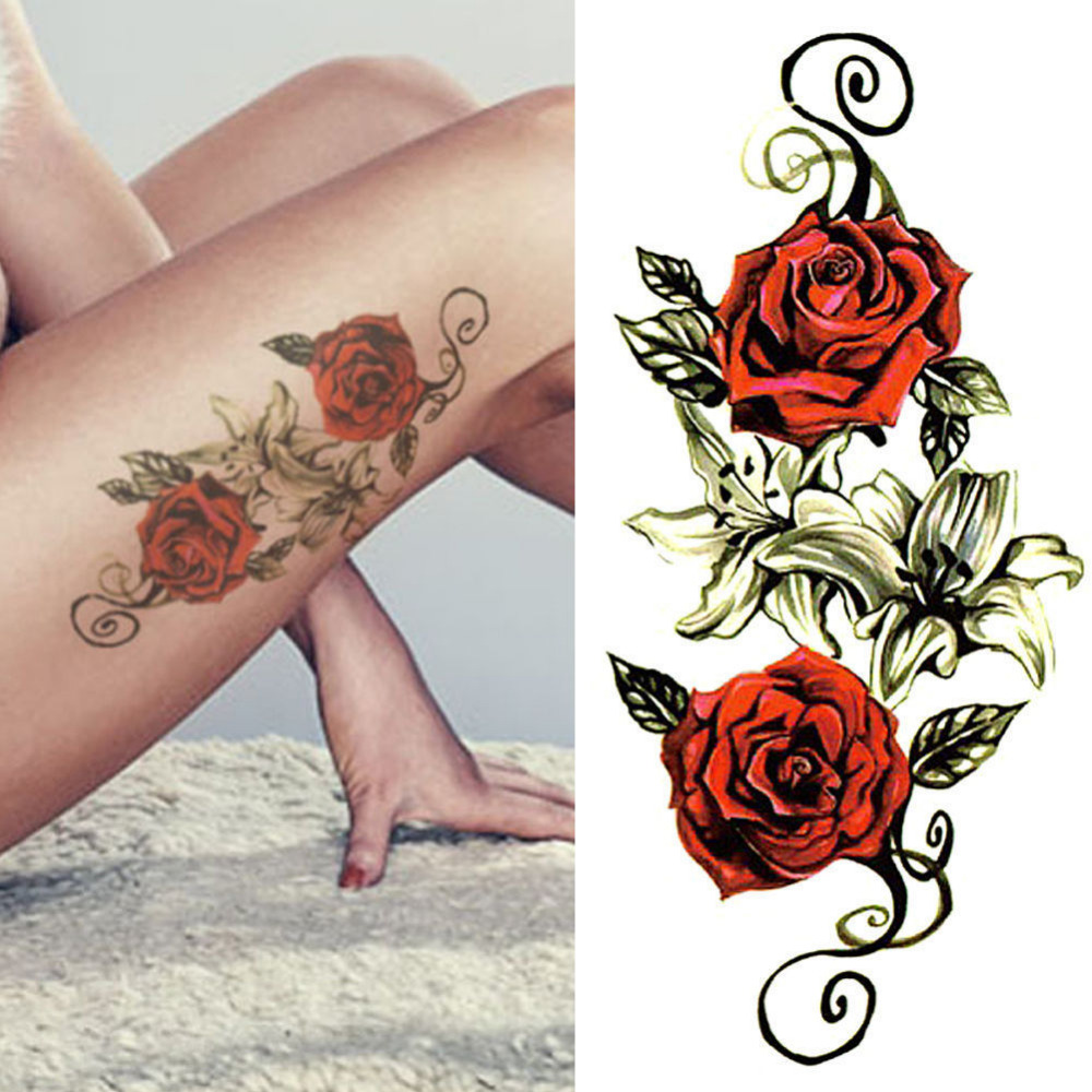 Red Roses Flower Temporary Tattoos Stickers Body Art 3D Rose Waterproof Tatoo F101361