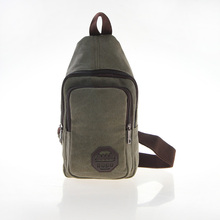 Men's Canvas Leather Travel Hiking Messenger Shoulder Back Pack Sling Chest Bag