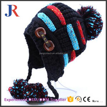 JR jiangrun 2017 manufacturer new fashion kids with two string pom pom winter hat knitted beanies