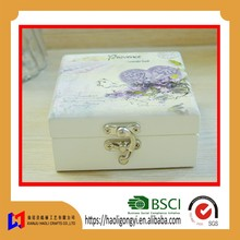 2016 new arrival shabby chic style art crafts solid pine stainless steel closure hinged plain jewelry box wooden gift