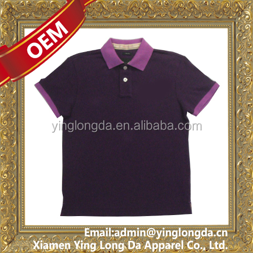 brand golf shirt with contrast collar and cuffs