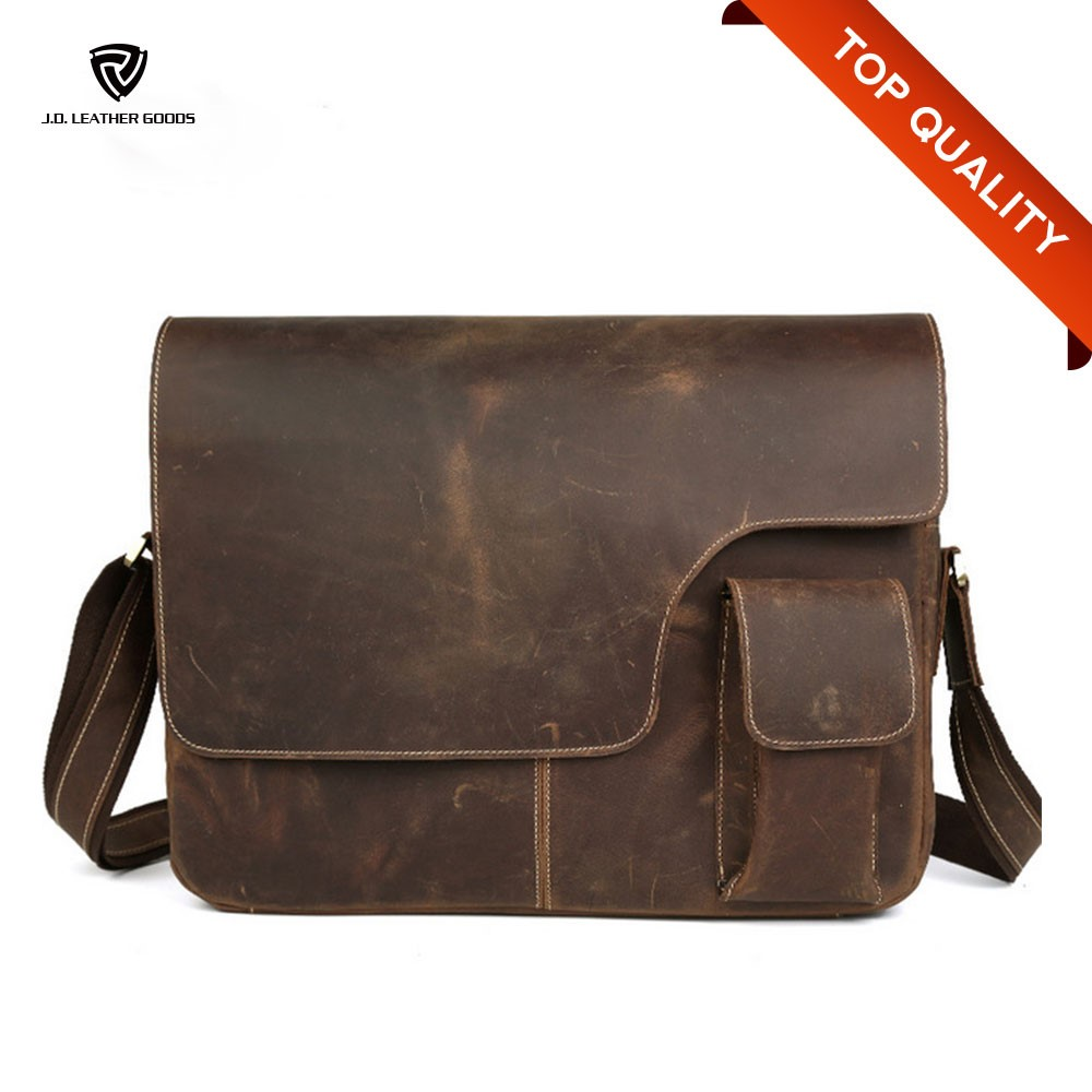Brown Mens 21 Ihch Crazy Hors Leather Laptop Computer Bag