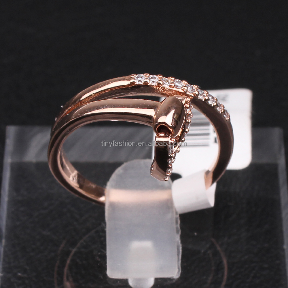 2016 latest design zircon rose gold harness belt buckle equestrain stirrup ring