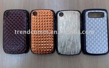 crystal case for blackberry curve 8520 with pu leather sticker