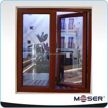 Thermal break aluminum casement window with inside louver and invisible fly screen