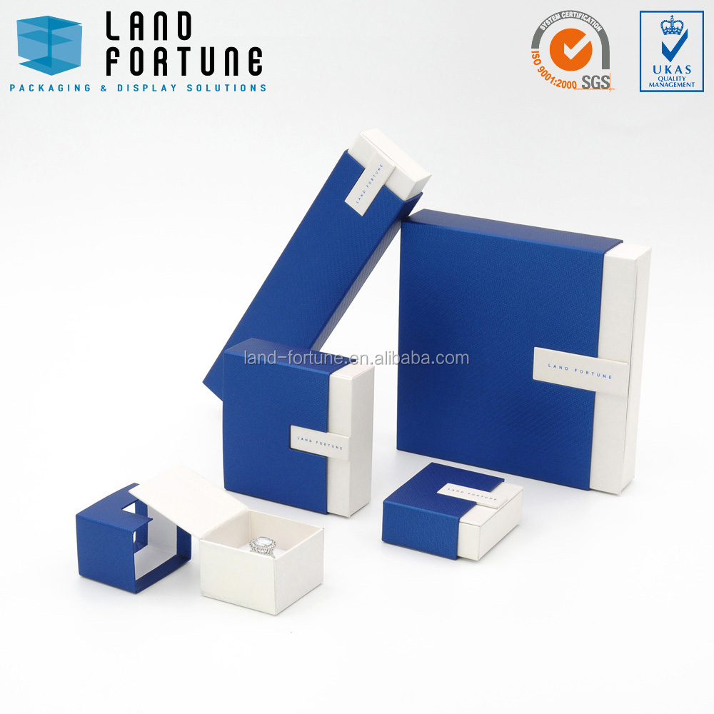 Blue white rectangular stripe paper sliding sleeve box cardboard jewellery box