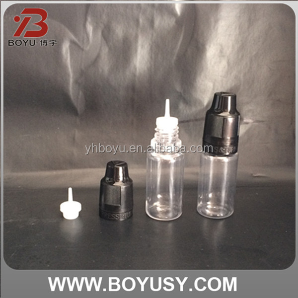 10ml PET plastic bottle thc e-cigarette liquid transparent style with child safety cap (e-liquids, e-tobacco oil, e-juice)