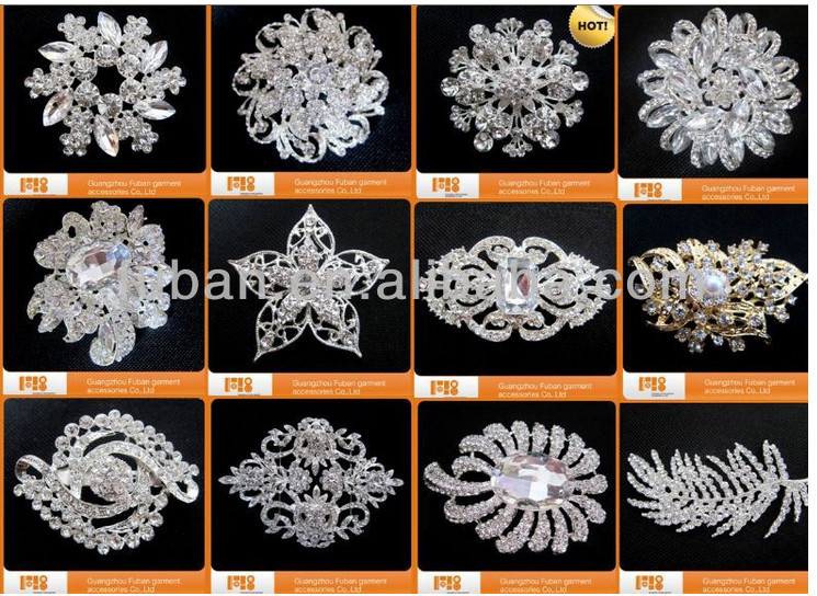 classical embellishments rhinestone brooch hijab pin for wedding accessories