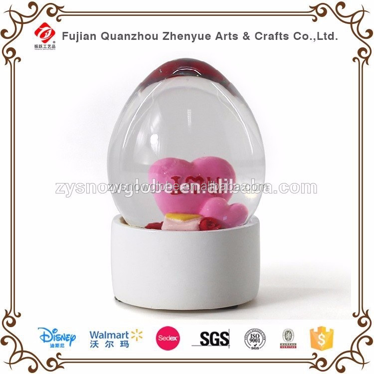 Custom Egg Shaped Resin Glass Snow Globe,Small Decoration Water ball