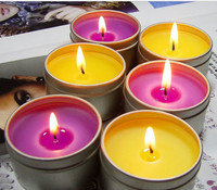 Different color soy candles in tin case with high quality and wholesale price