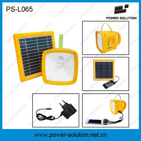 Portable 2W led solar emergency light with mobile phone charger for no electricity areas