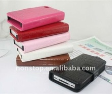 new arrival flip genuine leather wallet case cover pouch for iphone 4s 4 4G