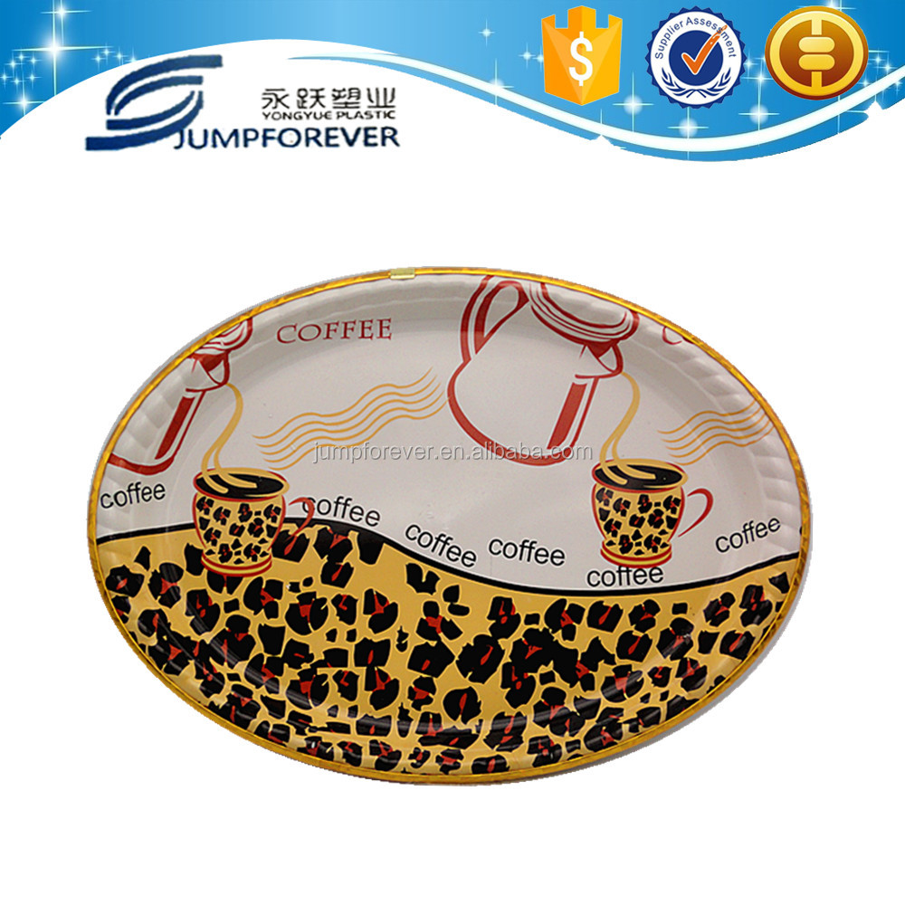 Big Oval decorative coffee plates ,cheap reusable plastic plates ,wholesale serving trays