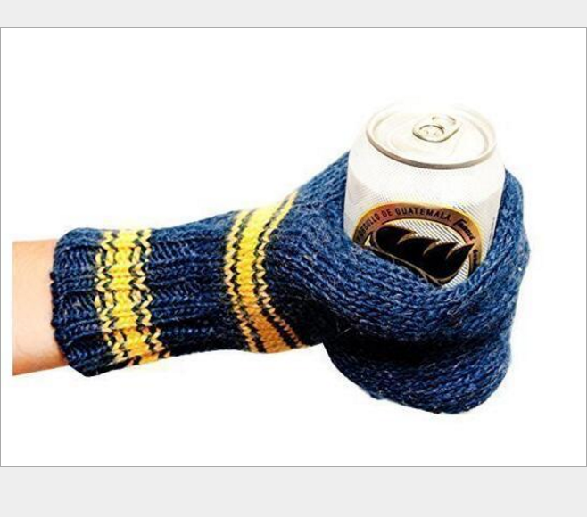 Beer Knit Knitted Mittens Set Drink Beer Cans Glove & Mitten