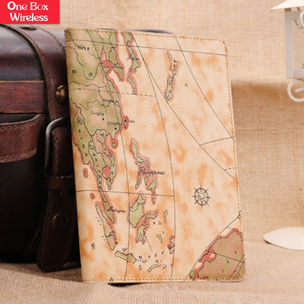 For iPad Mini 2 Case Map Design Flip Leather Wallet Book Skin Cover