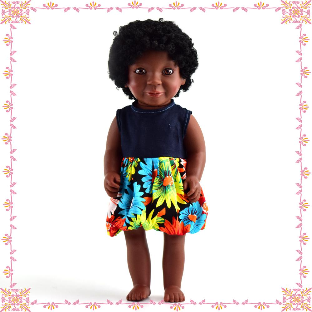 wholesale factory vinyl beautiful black American african Girl Dolls with high quality
