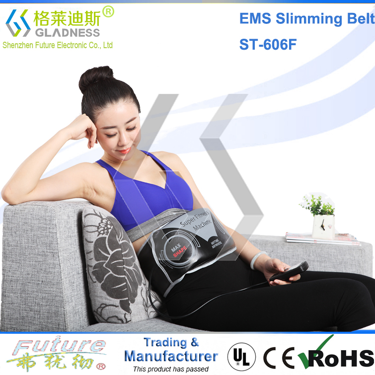 2016 GLADNESS Abdominal Belt With Two Functions/ Vibration Slimming Belt/EMS Slimming Belt no side effects slim fast belt