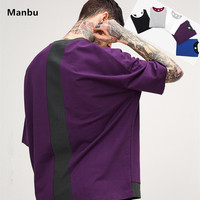 In-stock color block combination t-shirt oversized stitch short sleeve two color t shirt for men