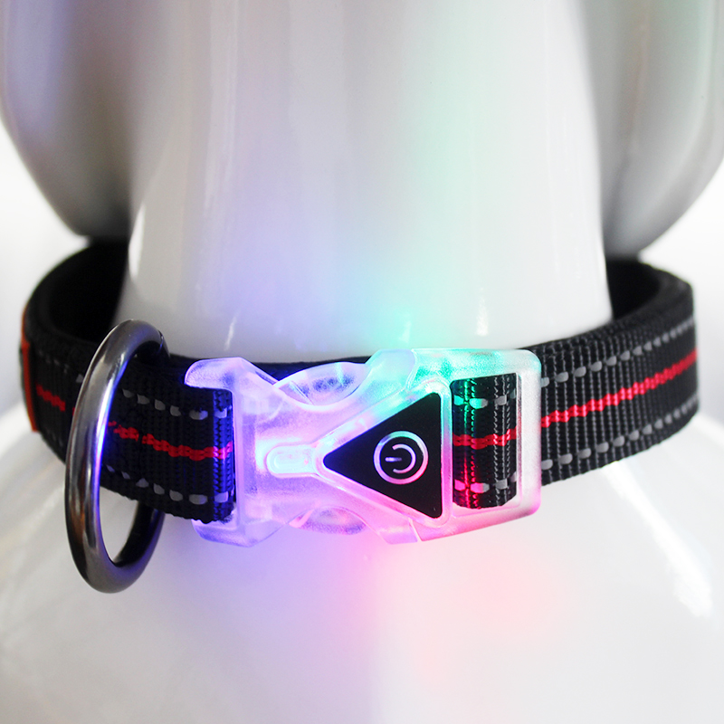 Wholesale flashing nylon led pad dog collar for walking at night
