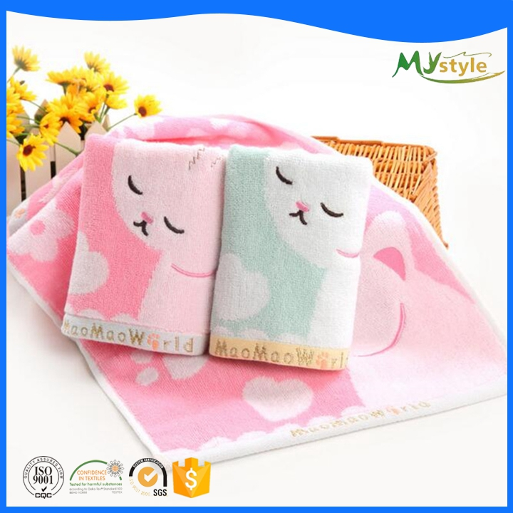 100% egyptian cotton yarn dyed cute animal embroidery dobby baby towel