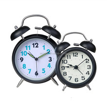 2016 promotional wholesale double bell quartz analog silent sweeping metal alarm clock
