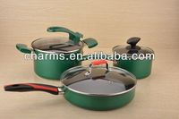 6PCS stainless steel pot with green high temperature coating