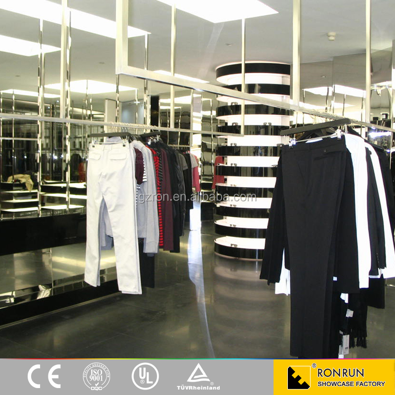 Fashion clothing store design manufacture clothes display furniture wooden display shelves