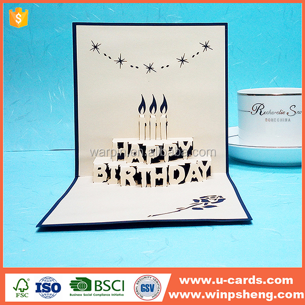 Custom handmade paper happy birthday card