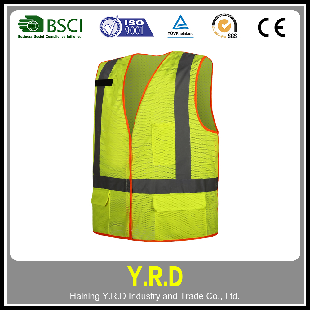 Professionals custom cheap zipper safety vest / summer reflective mesh safety vest