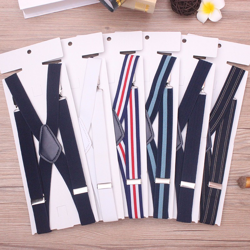 25XP4J04 The black leather suspenders for pants Elastic adjustable braces for wholesale