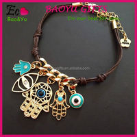 Hand of Fatima Hamsa Bracelet Evil Eye String Multiple Pendant Knit Link