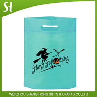 light blue d cut non-woven bags/die cut handle bag/non-woven tote bag for cloth