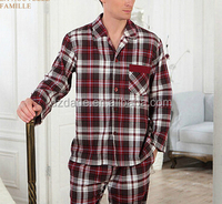 China manufacturer OEM supply and custom all kinds of night wear flannel yarn dyed pajama long sleeve night suit