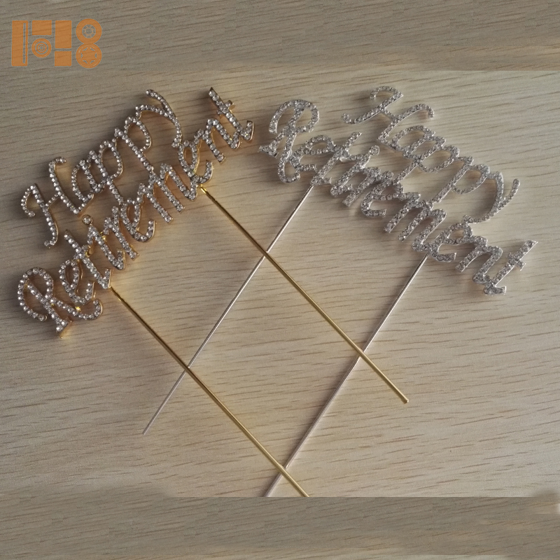 Wholesale Plating Gold or Silver Rhinestone Happy Retirement Cake Topper for Cake Decoration on wedding table centerpieces