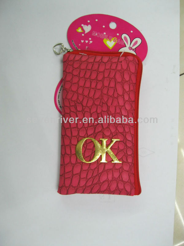 leather cell phone bag , customized logo and design mobile pouch