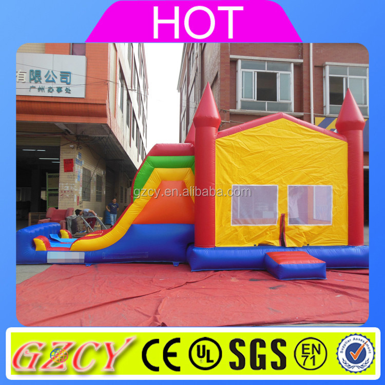 Customized commercial grade jumping inflatable bouncer slide with banner