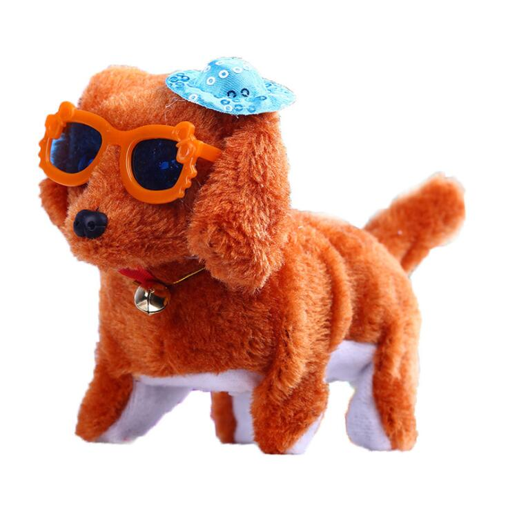 Factory Price Cheap Custom <strong>Plush</strong> Electronic Moving Dog Toy with Sunglasses