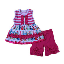 2017 kids wear online shopping cute cat toddler dresses with ruffle shorts knitted cotton clothing children outfits sets