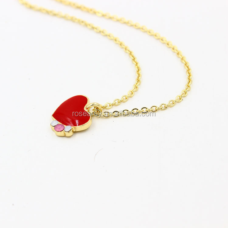 18 K Gold Plated Chain Cute Red Enamel Heart Pendant Necklace With high end stone