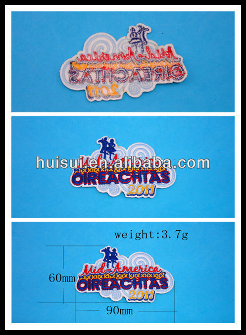 costomized high quality promotional plain embroidery patch