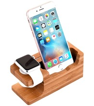 Bamboo Wood phone holder Charge Station Cradle for Apple Watch and iphone