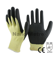 NMSAFETY 13 gauge black smooth nitrile palm aramid cut work glove